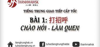 Bài 1: Chào hỏi – làm quen bằng tiếng Trung – Học giao tiếp cấp tốc