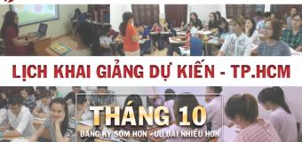 Lịch khai giảng các khóa học tiếng Hoa tháng 10 tại THANHMAIHSK