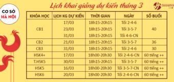 Lịch khai giảng dự kiến tháng 3 các khóa tiếng Trung tại THANHMAIHSK