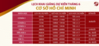 Khóa học tiếng Trung tháng 6 tại HCM-Cơ sở 2 HCM