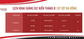Các khóa học tiếng Trung tại Hà Đông trong tháng 8