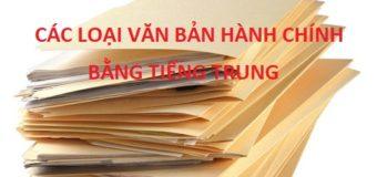 Các loại văn bản hành chính bằng tiếng Trung