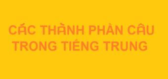 Các thành phần câu trong tiếng Trung ai cũng phải biết