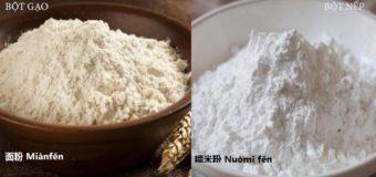 Các loại bột trong tiếng Trung