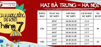 Lịch khai giảng dự kiến tháng 7/2019 tại THANHMAIHSK cơ sở Hai Bà Trưng