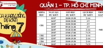 Lịch khai giảng tháng 7/2019 tại THANHMAIHSK cơ sở Hồ Chí Minh