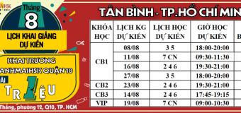 Lịch khai giảng tháng 8 tại THANHMAIHSK cơ sở quận Tân Bình – Hồ Chí Minh