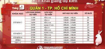 Lịch khai giảng tháng 9/2019 tại THANHMAIHSK cơ sở quận 1 Hồ Chí Minh