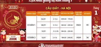 Lịch khai giảng dự kiến tháng 1/2020 tại tiếng Trung THANHMAIHSK cơ sở Cầu Giấy