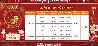 Lịch khai giảng tháng 1/2020 tại THANHMAIHSK cơ sở quận 10 – Hồ Chí Minh
