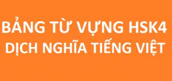 Từ vựng HSK 4 dịch nghĩa tiếng Việt cho người mới học