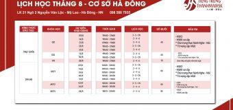 Lịch khai giảng lớp tiếng Trung tháng 8/2020 cơ sở Hà Đông – Hà Nội