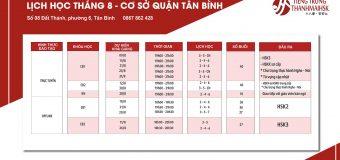 Lịch khai giảng tiếng Trung tháng 8/2020  cơ sở Tân Bình – HCM
