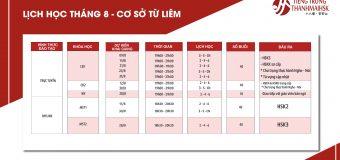 Lịch khai giảng Tiếng Trung tháng 8/2020 cơ sở Từ Liêm